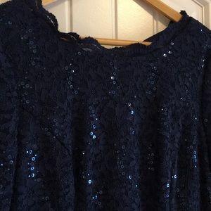 Alex evenings long dress. 12 P. Navy blue. Dressy.